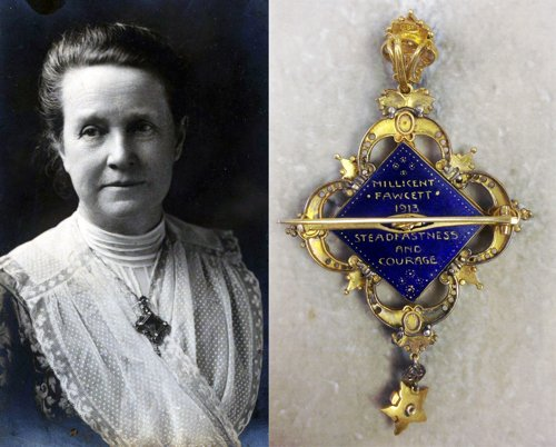 Portrait of Millicent Fawcett and back of brooch
