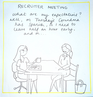 Illustration of a recruiter meeting. Worker says