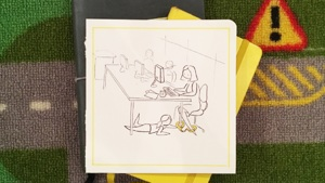 Illustration of women handcuffed to desk chair at work