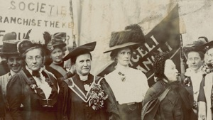 the suffragettes, including millicent fawcett and emily davies