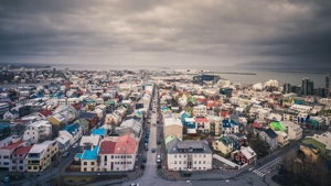 Landscape of Iceland town seen from above