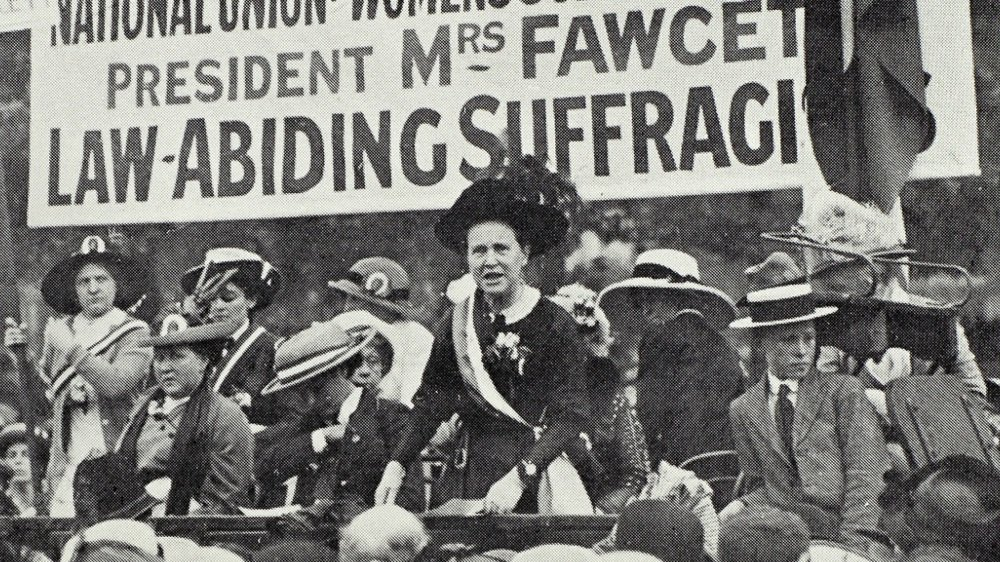 Millicent Fawcett campaigning in Hyde Park