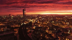 Sunrise view over Manchester
