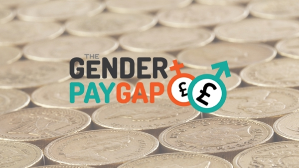 The Gender Pay Gap in front of background of pound coins