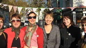 Fawcett local group members with Caroline Lucas