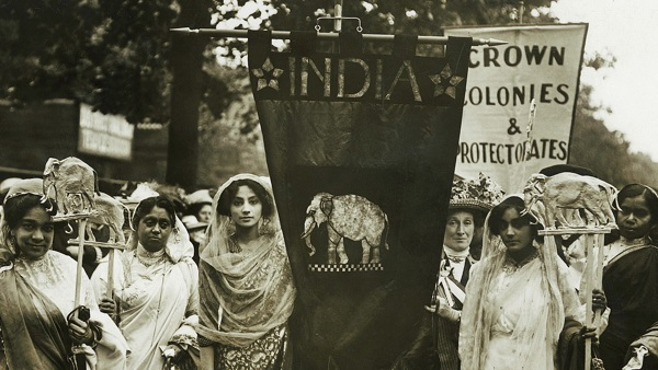 Indian suffragettes in the WSPU Women's Coronation Procession, 17 June 1911.  They were already living in Britain, but formed part of the procession's 'Imperial Contingent'
