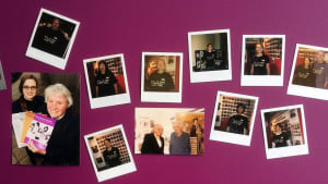 Collage of pictures of people wearing Fawcett T-shirts