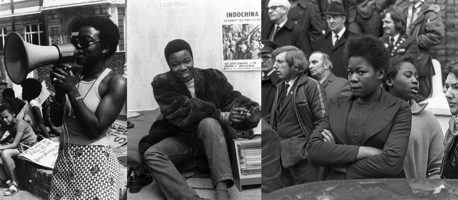 Three images of Olive Morris campaigning